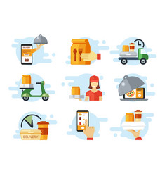 fast food ordering and delivery set online order vector image