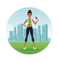 fitnesswoman in the city vector image