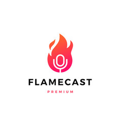 flame fire podcast mic logo icon vector image