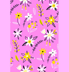 floral seamless pattern spring flowers on a pink vector image