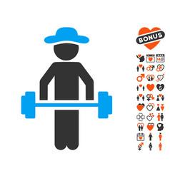 gentleman power lifting icon with dating bonus vector image