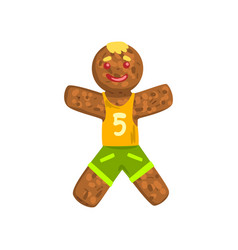 Gingerbread man in costume of soccer player vector