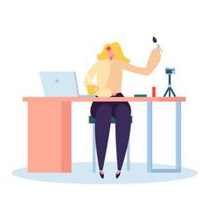girl beauty blogger recording makeup video vector image