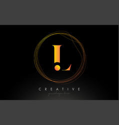 gold artistic l letter logo design with creative vector image