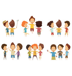 Groups of boys cartoon style set vector