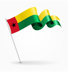Guinea-bissau pin wavy flag vector