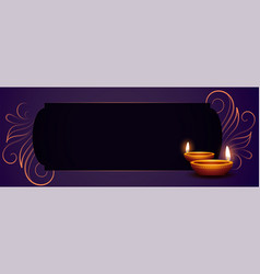 Happy diwali banner with realistic diya and text vector