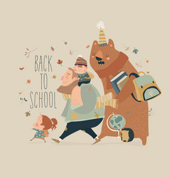 happy kids with animals going to school vector image