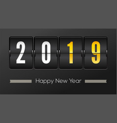 Happy new year 2019 airport time table with vector
