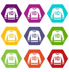 Hockey jersey icon set color hexahedron vector
