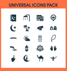 Holiday icons set with scripture bomb eid vector