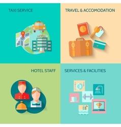 Hotel service composition set vector