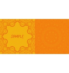 Invitation card design Ornamental orange flyer Art vector image