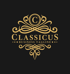 Letter c - classic luxurious logo template vector