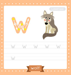 Letter w lowercase tracing practice worksheet wolf vector