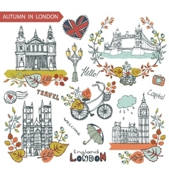 London landmarkAutumn leaves wteath group vector image