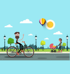 man on bicycle and young woman with baby carriage vector image