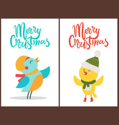 merry christmas posters congratulation from birds vector image
