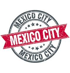 Mexico city red round grunge vintage ribbon stamp vector