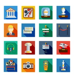 Museum flat squared icon set vector