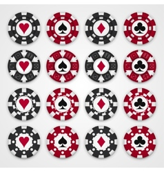 Nice set of casino gambling chips vector