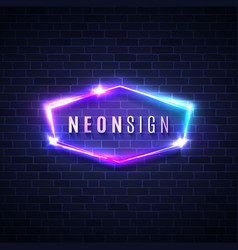 Night club neon sign 3d retro light signage vector
