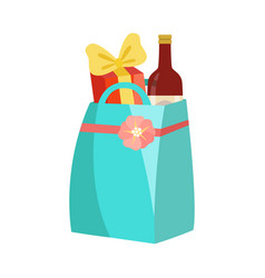 paper shopping bag with bottle wine and gift vector image
