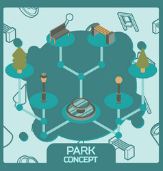 park color concept isometric icons vector image