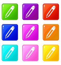 Pencil with eraser icons 9 set vector
