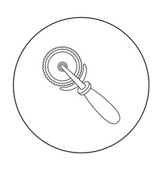 pizza cutter icon in outline style isolated on vector image