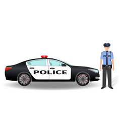 Police patrol car and policeman officer isolated vector