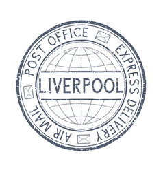 Postal stamp with liverpool great britain title vector