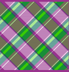Purple green color check fabric texture seamless vector