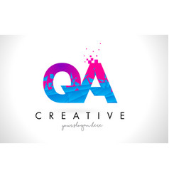Qa q a letter logo with shattered broken blue vector