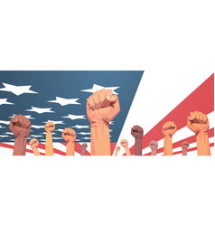 raised up mix race fists over united states flag vector image
