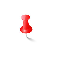 red push pin thumbtack top view vector image