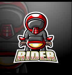 Rider mascot esport logo design vector
