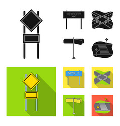 Road signs and other web icon in black flat style vector