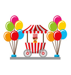 Salesman balloons booth carnival fun fair vector