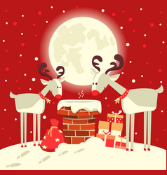 santa claus in the chimney with deers in the vector image