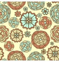 Seamless background with doodle flowers vector image