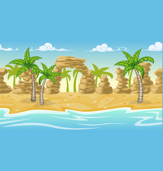 Seamless natur beach landscape with palm trees vector