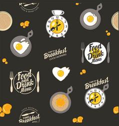 seamless pattern on theme breakfast vector image