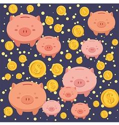 Seamless Pattern Piggybank Blue vector image