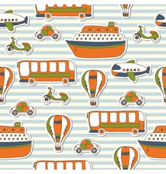 Seamless pattern with colorful transport vector image