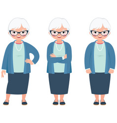 senior elderly gray haired woman on a white vector image