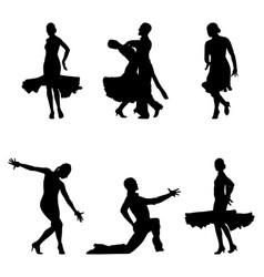 Set dancers black silhouettes vector