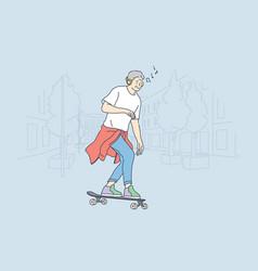 skateboarding sport recreation hobconcept vector image