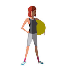 sport girl holding fitball exercise image vector image