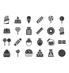 sweets and candy icon set 12 solid design vector image